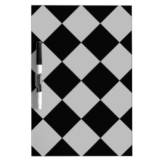 Diag Checkered Large - Black and Light Gray Dry Erase Board