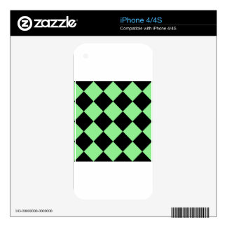Diag Checkered Large - Black and Light Green Decal For The iPhone 4S
