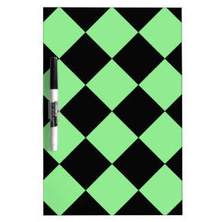 Diag Checkered Large - Black and Light Green Dry-Erase Board