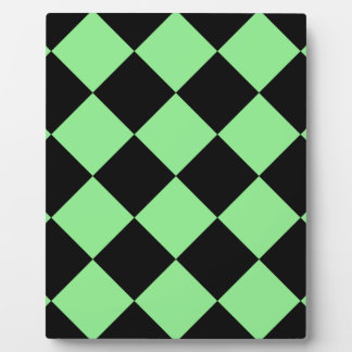 Diag Checkered Large - Black and Light Green Plaque