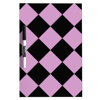 Diag Checkered Large-Black and Light Medium Orchid Dry Erase Board