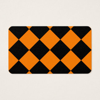 Diag Checkered Large - Black and Orange Business Card