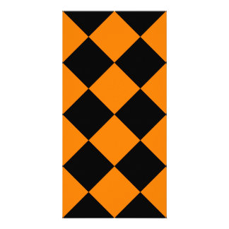 Diag Checkered Large - Black and Orange Card