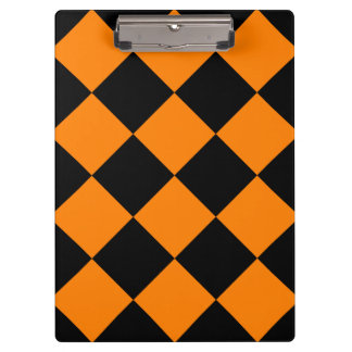 Diag Checkered Large - Black and Orange Clipboard