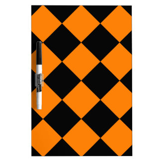 Diag Checkered Large - Black and Orange Dry Erase Board