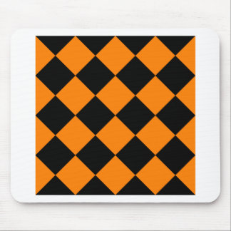 Diag Checkered Large - Black and Orange Mouse Pad