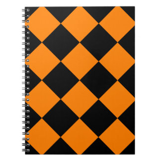 Diag Checkered Large - Black and Orange Notebook