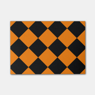 Diag Checkered Large - Black and Orange Post-it® Notes