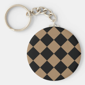 Diag Checkered Large - Black and Pale Brown Basic Round Button Keychain