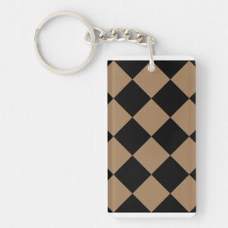 Diag Checkered Large - Black and Pale Brown Double-Sided Rectangular Acrylic Keychain