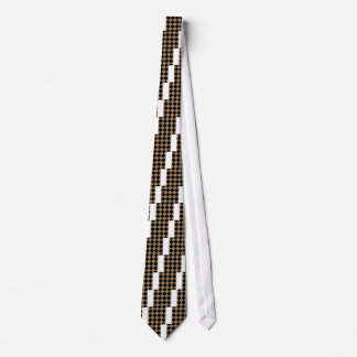 Diag Checkered Large - Black and Pale Brown Tie