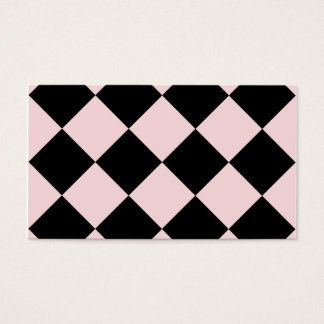 Diag Checkered Large - Black and Pale Pink Business Card