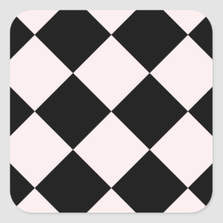Diag Checkered Large - Black and Pale Pink Square Sticker