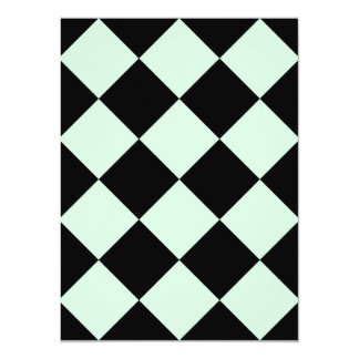 Diag Checkered Large - Black and Pastel Green 5.5x7.5 Paper Invitation Card