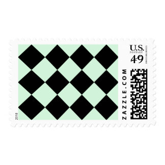 Diag Checkered Large - Black and Pastel Green Stamp