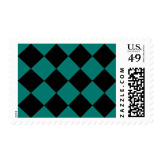 Diag Checkered Large - Black and Pine Green Postage Stamp