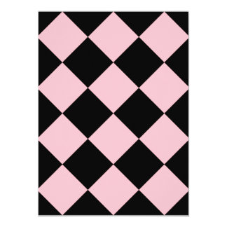 Diag Checkered Large - Black and Pink 5.5x7.5 Paper Invitation Card