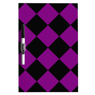 Diag Checkered Large - Black and Purple Dry Erase Board