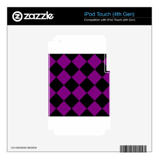 Diag Checkered Large - Black and Purple Skin For iPod Touch 4G