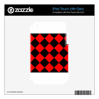 Diag Checkered Large - Black and Red Skins For iPod Touch 4G