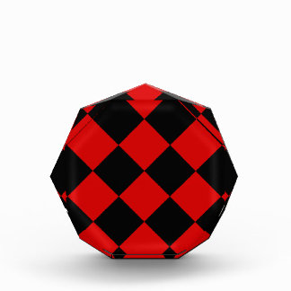 Diag Checkered Large - Black and Rosso Corsa Acrylic Award