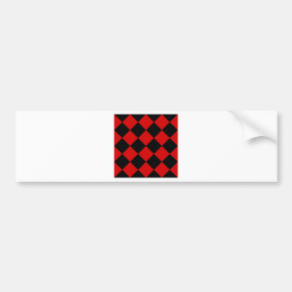 Diag Checkered Large - Black and Rosso Corsa Bumper Sticker