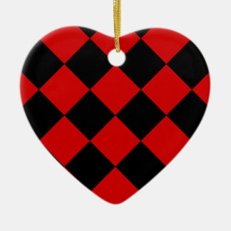 Diag Checkered Large - Black and Rosso Corsa Ceramic Ornament