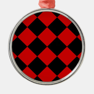 Diag Checkered Large - Black and Rosso Corsa Metal Ornament