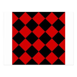 Diag Checkered Large - Black and Rosso Corsa Postcard