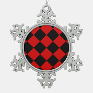 Diag Checkered Large - Black and Rosso Corsa Snowflake Pewter Christmas Ornament