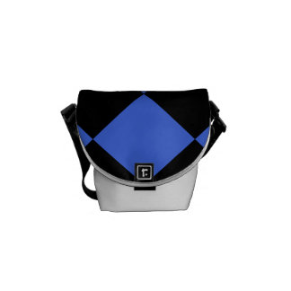 Diag Checkered Large - Black and Royal Blue Courier Bag