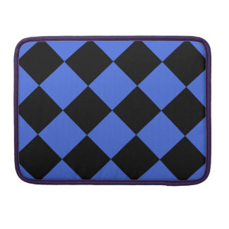Diag Checkered Large - Black and Royal Blue MacBook Pro Sleeve