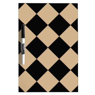 Diag Checkered Large - Black and Tan Dry Erase Board