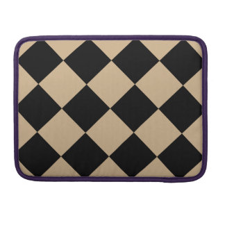 Diag Checkered Large - Black and Tan Sleeve For MacBook Pro