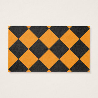 Diag Checkered Large - Black and Tangerine Business Card