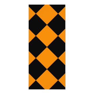 Diag Checkered Large - Black and Tangerine Card