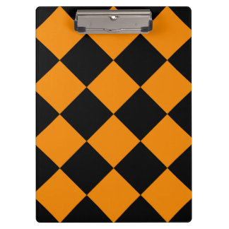 Diag Checkered Large - Black and Tangerine Clipboard