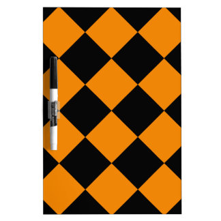 Diag Checkered Large - Black and Tangerine Dry-Erase Board