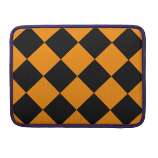 Diag Checkered Large - Black and Tangerine MacBook Pro Sleeves