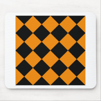 Diag Checkered Large - Black and Tangerine Mouse Pad