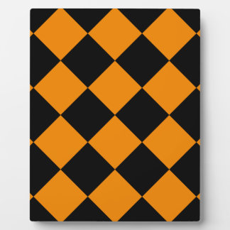 Diag Checkered Large - Black and Tangerine Plaque