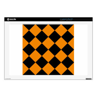 Diag Checkered Large - Black and Tangerine Skin For Laptop