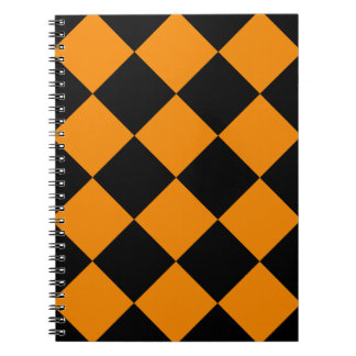 Diag Checkered Large - Black and Tangerine Spiral Notebook