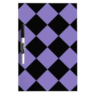 Diag Checkered Large - Black and Ube Dry-Erase Board