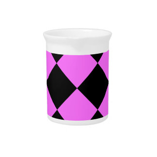 Diag Checkered Large - Black and Ultra Pink Drink Pitcher