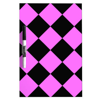Diag Checkered Large - Black and Ultra Pink Dry Erase Board
