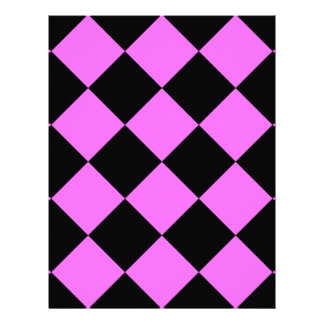 Diag Checkered Large - Black and Ultra Pink Letterhead
