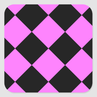 Diag Checkered Large - Black and Ultra Pink Square Sticker