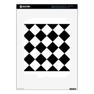Diag Checkered Large - Black and White iPad 3 Skin