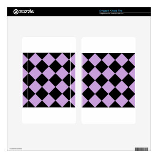 Diag Checkered Large - Black and Wisteria Skin For Kindle Fire